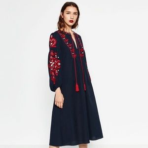 Zara blue and red embroidered dress